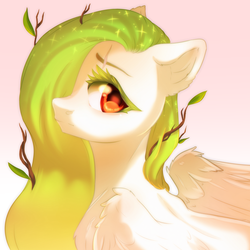 Size: 3500x3500 | Tagged: safe, artist:rizzych, oc, oc:lemony light, pegasus, pony, colored eyelashes, looking at you, simple background, solo, twig