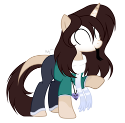 Size: 1280x1253 | Tagged: artist:mintoria, clothes, female, glowing eyes, mare, oc, oc:herobrine, pants, pony, safe, scarf, shirt, simple background, solo, transparent background, unicorn