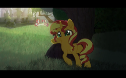 Size: 1280x800 | Tagged: artist:minty root, female, idw, mare, moondancer, moondancer (g1), park, safe, sunset shimmer, the fall of sunset shimmer: animated film, unicorn, youtube, youtube link