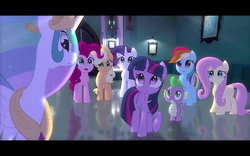 Size: 1280x800 | Tagged: safe, artist:minty root, applejack, fluttershy, pinkie pie, princess celestia, rainbow dash, rarity, spike, twilight sparkle, alicorn, the fall of sunset shimmer: animated film, mane seven, mane six, twilight sparkle (alicorn), youtube