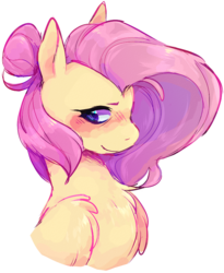 Size: 706x859 | Tagged: safe, artist:uberstress, fluttershy, pegasus, pony, alternate hairstyle, blushing, bust, chest fluff, cute, female, fluffy, hair bun, looking away, looking sideways, mare, portrait, shyabetes, simple background, smiling, solo, three quarter view, transparent background