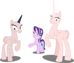 Size: 4827x4106 | Tagged: safe, artist:tralomine, artist:velveagicsentryyt, edit, edited edit, editor:slayerbvc, vector edit, princess celestia, princess luna, starlight glimmer, alicorn, pony, unicorn, a royal problem, bald, base used, blushing, embarrassed, female, furless, furless edit, grin, looking back, mare, missing accessory, moonbutt, nervous, nervous grin, now you fucked up, nude edit, nudity, plot, plucked wings, raised hoof, royal sisters, shaved, shaved tail, simple background, smiling, spell gone wrong, sunbutt, this will end in tears and/or a journey to the moon, transparent background, underhoof, vector, wat