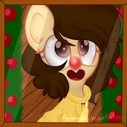 Size: 2000x2000 | Tagged: artist:applerougi, christmas, christmas tree, clothes, female, holiday, mare, oc, pony, red nose, safe, solo, sweater, tree