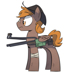 Size: 1500x1500 | Tagged: safe, artist:wandrevieira1994, oc, oc only, oc:calamity, pegasus, pony, fallout equestria, bandage, battle saddle, bruised, cowboy hat, dashite, fanfic, fanfic art, gun, hat, hooves, male, rifle, simple background, solo, stallion, transparent background, weapon, wings