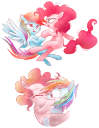 Size: 830x1070 | Tagged: artist:pinkablue, blushing, dancing, earth pony, female, kissing, lesbian, mare, pegasus, pinkiedash, pinkie pie, pony, rainbow dash, safe, shipping, signature, simple background, white background