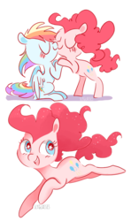 Size: 500x845 | Tagged: artist:pinkablue, bipedal, bipedal leaning, blushing, earth pony, female, kissing, leaning, lesbian, mare, pegasus, pinkiedash, pinkie pie, pony, rainbow dash, safe, shipping, signature, simple background, starry eyes, white background, wingding eyes