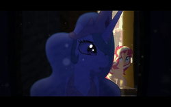 Size: 1280x800 | Tagged: safe, artist:minty root, princess celestia, sunset shimmer, pony, the fall of sunset shimmer: animated film, youtube
