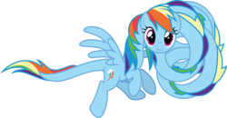 Size: 5771x3000 | Tagged: artist:sollace, flying, i can't believe it's not badumsquish, impossibly long neck, long neck, long pony, looking at you, necc, not salmon, pony, rainbow dash, safe, solo, species swap, .svg available, vector, wat