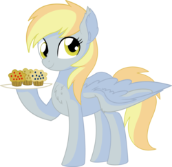Size: 6822x6613 | Tagged: absurd res, artist:cyanlightning, chest fluff, derpy hooves, ear fluff, female, food, holding, looking at you, mare, muffin, pegasus, pony, safe, simple background, solo, spread wings, .svg available, transparent background, vector, wings