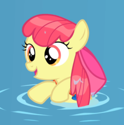 Size: 831x833 | Tagged: adorabloom, apple bloom, bow, cropped, cute, earth pony, female, filly, floatie, hair bow, leap of faith, open mouth, pony, safe, screencap, solo, swimming, wet, wet mane