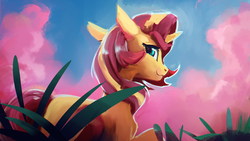 Size: 1920x1080   Tagged: safe, artist:hierozaki, sunset shimmer, pony, unicorn, :3, cloud, cute, ear fluff, female, floppy ears, grass, lidded eyes, looking at you, looking back, looking back at you, mare, raised hoof, shimmerbetes, shoulder fluff, sidemouth, sky, smiling, solo