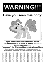 Size: 2480x3508 | Tagged: artist:poldekpl, parody, part of a set, pinkie pie, poster, safe, smiling, text, warning