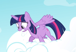 Size: 689x477 | Tagged: alicorn, cloud, cropped, safe, screencap, solo, spread wings, standing on cloud, struggling, teeth, testing testing 1-2-3, twilight sparkle, twilight sparkle (alicorn), wings