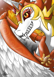 Size: 700x1000 | Tagged: alicorn, armor, artist:joselyn565, bust, daybreaker, fangs, fire, helmet, pony, safe, sharp teeth, signature, solo, teeth, wing armor