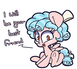 Size: 1515x1364 | Tagged: safe, artist:lou, cozy glow, pegasus, pony, best friends, blatant lies, bow, cozybetes, cute, dialogue, digital art, female, freckles, friendship, friendship student, looking at you, mare, pure concentrated unfiltered evil of the utmost potency, simple background, sitting, solo, underhoof, wanna be friends?, white background