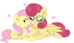 Size: 1024x603 | Tagged: artist:theblankmind, blushing, blush sticker, cute, duo, eyes closed, female, fluttershy, heart, kissing, mare, mother and daughter, mrs. shy, nuzzling, pegasus, pony, profile, prone, safe, shyabetes, simple background, sweet dreams fuel, transparent background