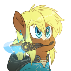 Size: 4000x4000 | Tagged: artist:fluffyxai, breath of the wild, clothes, cute, holding, jewelry, link, male, oc, ocbetes, ponytail, quarter hearts, safe, solo, stallion, the legend of zelda, weapon