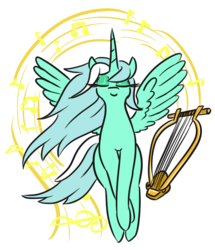 Size: 522x607 | Tagged: alicorn, alicornified, artist:jargon scott, chelys lyre, eyes closed, female, flying, lyracorn, lyra heartstrings, lyre, majestic, mare, music notes, pony, race swap, safe, simple background, solo, white background