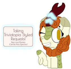 Size: 1901x1854 | Tagged: anonymous artist, autumn blaze, awwtumn blaze, cloven hooves, cute, female, kirin, looking at you, magic, needs to be removed, one eye closed, please remove, pointing, request, requests, safe, sign, simple background, smiling, solo, sounds of silence, style emulation, transparent background, triviatopia, wink