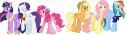 Size: 8125x2282 | Tagged: alicorn, alternate hairstyle, applejack, applejack's hat, artist:melodytheunicorn, bow in hair, bowtie, clothes, cowboy hat, crown, diamond, earth pony, eyes closed, female, flower, flower in hair, fluttershy, future, hat, hoof shoes, jewelry, mane six, mare, necklace, pegasus, pinkie pie, pony, rainbow dash, rarity, regalia, safe, simple background, transparent background, twilight sparkle, twilight sparkle (alicorn), unicorn, uniform