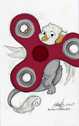 Size: 781x1234 | Tagged: safe, artist:midnightpremiere, artist:tinibirb, color edit, edit, oc, oc only, oc:der, griffon, colored, fidget spinner, male, micro, solo
