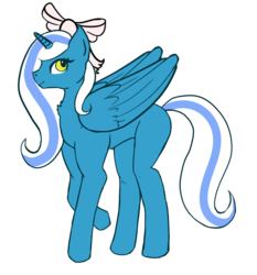 Size: 586x628 | Tagged: alicorn, alicorn oc, bow, female, hair bow, long hair, long mane, long tail, looking back, mare, oc, oc:fleurbelle, pink bow, pony, ribbon, safe, smiling, yellow eyes