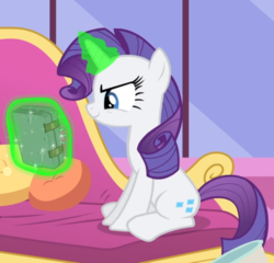 Size: 790x759 | Tagged: book, couch, cropped, evil grin, glowing horn, grin, inspirarity, inspiration manifestation, levitation, magic, pony, possessed, rarity, safe, screencap, sitting, smiling, telekinesis