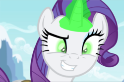 Size: 1410x939 | Tagged: close-up, cropped, evil grin, glowing horn, grin, inspirarity, inspiration manifestation, pony, possessed, rarity, safe, screencap, smiling, solo, teeth