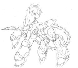 Size: 768x674 | Tagged: safe, artist:kurogetsuouji, oc, oc:oath breaker, pony, armor, power armor, powered exoskeleton
