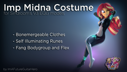 Size: 3840x2160 | Tagged: safe, artist:imafutureguitarhero, artist:sindroom, part of a set, sunset shimmer, human, equestria girls, 3d, arm behind head, armpits, bodysuit, clothes, colored eyebrows, cosplay, costume, crossover, download, download at source, downloadable, fangs, female, floating, glow, gradient background, grin, high res, legend of zelda: twilight princess, midna, multicolored hair, one eye closed, part of a series, skintight clothes, smiling, solo, source filmmaker, text, the legend of zelda, the legend of zelda: twilight princess, wink