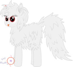 Size: 2000x1831 | Tagged: safe, artist:onil innarin, oc, oc only, oc:asla praki, original species, :p, albino, cute, female, fluffy, magic, mare, red eyes, signature, silly, simple background, tongue out, transparent background