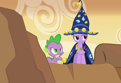 Size: 12500x8550 | Tagged: artist:mysteriouskaos, cape, clothes, costume, dragon, female, hat, male, mare, pony, safe, spike, star swirl the bearded costume, twilight sparkle, unicorn, unicorn twilight, wizard hat