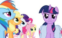 Size: 8789x5445 | Tagged: applejack, artist:mysteriouskaos, bag, dragonshy, earth pony, eyes closed, female, fluttershy, mane six, mare, pegasus, pinkie pie, pony, rainbow dash, rarity, safe, simple background, transparent background, twilight sparkle, unicorn, unicorn twilight, vector