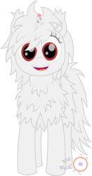Size: 2098x4001 | Tagged: safe, artist:onil innarin, oc, oc only, oc:asla praki, original species, albino, cute, female, fluffy, looking at you, magic, mare, red eyes, signature, simple background, smiling, transparent background