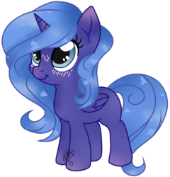 Size: 658x685 | Tagged: alicorn, artist:angelamusic13, base used, blushing, female, filly, pony, princess luna, safe, simple background, solo, transparent background, woona, younger