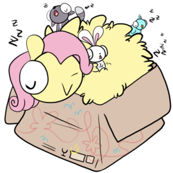 Size: 1280x1280 | Tagged: safe, artist:asksillypones, angel bunny, fluttershy, bird, pegasus, pony, rabbit, :>, :o, box, chibi, cute, eyes closed, female, fluffy, if i fits i sits, mare, open mouth, pony in a box, shyabetes, simple background, sleeping, smiling, white background, z, zzz