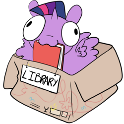Size: 1280x1280 | Tagged: :3, alicorn, artist:asksillypones, book, bookhorse, box, cute, if i fits i sits, mouth hold, pony, pony in a box, safe, solo, twiabetes, twilight sparkle, twilight sparkle (alicorn)