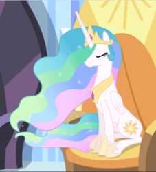 Size: 854x941 | Tagged: chair, cropped, crown, equestria games (episode), ethereal mane, eyes closed, jewelry, princess celestia, regalia, safe, screencap, sitting, solo