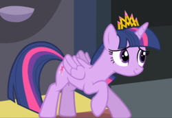 Size: 1361x938 | Tagged: alicorn, bowing, cropped, crown, equestria games (episode), jewelry, regalia, safe, screencap, smiling, solo, twilight sparkle, twilight sparkle (alicorn)