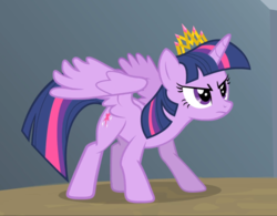 Size: 1116x871 | Tagged: alicorn, cropped, crouching, crown, determined, equestria games (episode), jewelry, regalia, safe, screencap, solo, spread wings, twilight sparkle, twilight sparkle (alicorn), wings