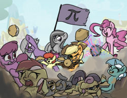 Size: 620x480 | Tagged: 4chan, apple bloom, applejack, artist:plunger, berry punch, berryshine, bon bon, bon bon is not amused, derpy hooves, drawthread, earth pony, female, flag, food, lazy background, limestone pie, lyra heartstrings, marble pie, mare, massacre, /mlp/, party cannon, pegasus, pi, pi day, pie, pinkie pie, pony, roseluck, safe, sweetie drops, unamused, unicorn