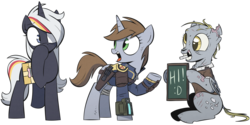 Size: 3000x1500 | Tagged: artist:wandrevieira1994, chalk, chalkboard, clothes, covering mouth, derpy hooves, ditzy doo, fallout equestria, fanfic art, fluttershy medical saddlebag, ghoul, gun, handgun, hi, little macintosh, medical saddlebag, mouth hold, mouth writing, oc, oc:littlepip, oc:velvet remedy, open mouth, pipbuck, pony, revolver, safe, sitting, underhoof, vault suit