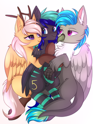 Size: 3000x4000 | Tagged: artist:pesty_skillengton, background removed, bedroom eyes, cuddling, griffon, griffon oc, oc, oc:antler pone, oc:fluffy (the griffon), oc:moonstone mark, oc only, pegasus, pony, safe, snuggling