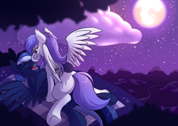 Size: 4093x2894 | Tagged: absurd res, artist:sugaryviolet, boop, couple, female, full moon, male, moon, night, oc, oc:auron, oc:gabriel, oc only, pony, safe, scenery, shipping, stars, straight