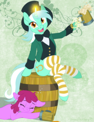 Size: 722x938 | Tagged: alcohol, artist:brianblackberry, barrel, beer, berry punch, berryshine, bowtie, clothes, drunk, earth pony, female, hand, happy, hat, holiday, irish, jacket, lyra heartstrings, lyrish, magic, magic hands, pony, safe, saint patrick's day, shamrock, sitting, socks, striped socks, tankard, top hat, unicorn, vest, waistcoat