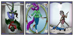 Size: 3860x1892 | Tagged: anthro, artist:ghouleh, bars, beanie, broken horn, card, chains, city, clothes, cloud, colt, crystal, death, female, flower, flower in hair, forest, glasses, hanged man, hat, hoodie, horn, jail, knife, laurels, major arcana, male, manacles, mare, oc, oc:moonlight gaze, oc only, oc:robin mug, oc:zapathasura, pegasus, quintverse, safe, scythe, spear, sun, tarot, tarot card, the hanged man, the hanged mare, the world, unicorn, weapon, zebra