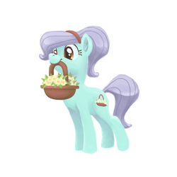 Size: 800x800 | Tagged: artist:needsmoarg4, basket, dainty daisy, earth pony, flower, mouth hold, safe, solo