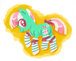 Size: 957x777 | Tagged: artist:needsmoarg4, bow, clothes, minty, safe, socks, solo, striped socks, tail bow