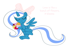 Size: 4072x2826 | Tagged: adorable face, alicorn, alicorn oc, artist:alari1234-bases, artist:riofluttershy, base used, bow, content, cute, eyes closed, female, flower, hair bow, happy, lying down, mare, oc, oc:fleurbelle, pink bow, pony, ribbon, safe, smiling, sweet