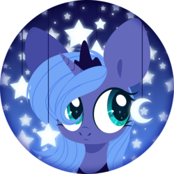 Size: 4000x4000 | Tagged: artist:belka-sempai, bust, crescent moon, crown, cute, female, filly, jewelry, lunabetes, moon, pony, portrait, princess luna, regalia, safe, solo, stars, woona, younger